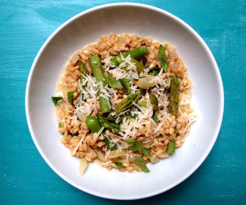 Asparagus barley risotto